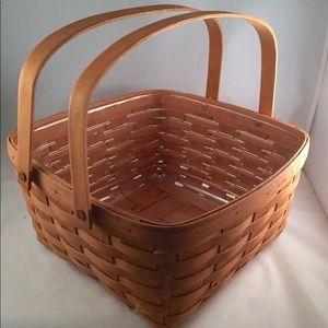 Longaberger Square 2 Handle Basket 1980 w/liner